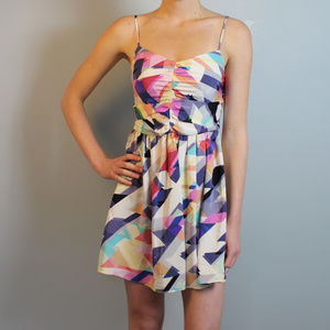 Parker bright colorful geometric mini dress